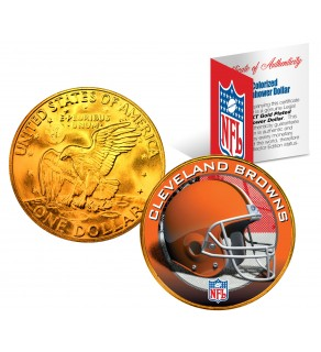 CLEVELAND BROWNS NFL 24K Gold Plated IKE Dollar US Colorized Coin - Officially Licensed