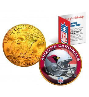 ARIZONA CARDINALS NFL 24K Gold Plated IKE Dollar US Colorized Coin - Officially Licensed