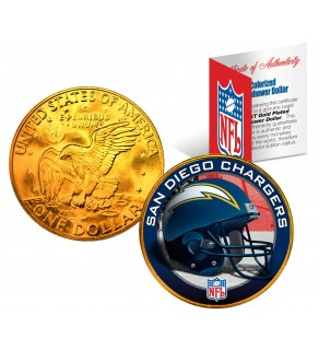 SAN DIEGO CHARGERS NFL 24K Gold Plated IKE Dollar US Colorized Coin - Officially Licensed