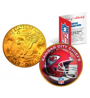 KANSAS CITY CHIEFS NFL 24K Gold Plated IKE Dollar US Colorized Coin - Officially Licensed