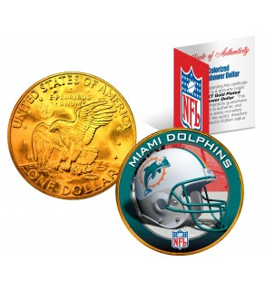 MIAMI DOLPHINS NFL 24K Gold Plated IKE Dollar US Colorized Coin - Officially Licensed