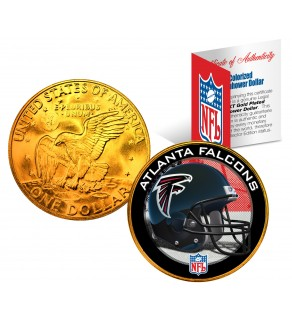 ATANTA FALCONS NFL 24K Gold Plated IKE Dollar US Colorized Coin - Officially Licensed