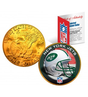 NEW YORK JETS NFL 24K Gold Plated IKE Dollar US Colorized Coin - Officially Licensed