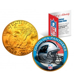 CAROLINA PANTHERS NFL 24K Gold Plated IKE Dollar US Colorized Coin - Officially Licensed