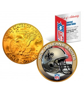 NEW ORLEANS SAINTS NFL 24K Gold Plated IKE Dollar US Colorized Coin - Officially Licensed