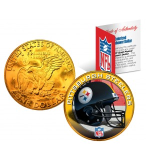 PITTSBURGH STEELERS NFL 24K Gold Plated IKE Dollar US Colorized Coin - Officially Licensed