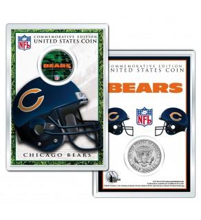 CHICAGO BEARS Field NFL Colorized JFK Kennedy Half Dollar U.S. Coin w/4x6 Display
