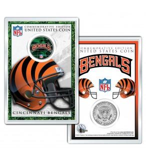 CINCINNATI BENGALS Field NFL Colorized JFK Kennedy Half Dollar U.S. Coin w/4x6 Display