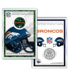 DENVER BRONCOS Field NFL Colorized JFK Kennedy Half Dollar U.S. Coin w/4x6 Display