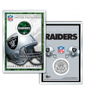 OAKLAND RAIDERS Field NFL Colorized JFK Kennedy Half Dollar U.S. Coin w/4x6 Display