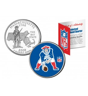 NEW ENGLAND PATRIOTS - Retro Logo - Massachusetts Quarter US Colorized Coin Football NFL - Officially Licensed
