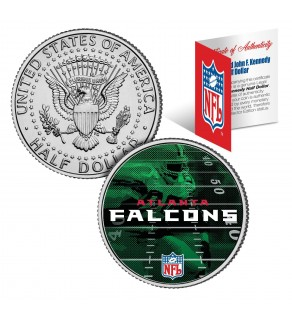 ATLANTA FALCONS Field JFK Kennedy Half Dollar US Colorized Coin - NFL Licensed