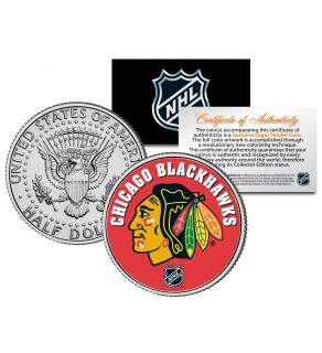 CHICAGO BLACKHAWKS NHL Hockey JFK Kennedy Half Dollar U.S. Coin - Officially Licensed