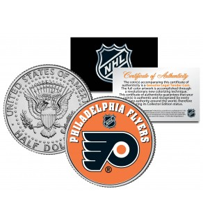 PHILADELPHIA FLYERS NHL Hockey JFK Kennedy Half Dollar U.S. Coin - Officially Licensed