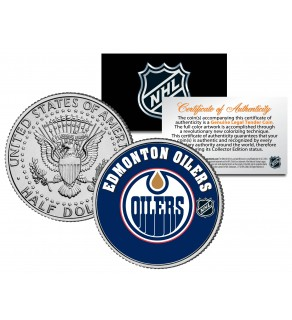 EDMONTON OILERS NHL Hockey JFK Kennedy Half Dollar U.S. Coin - Officially Licensed