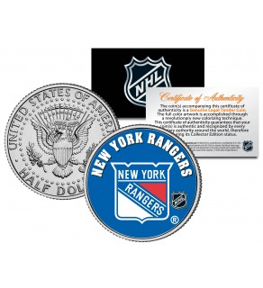 NEW YORK RANGERS NHL Hockey JFK Kennedy Half Dollar U.S. Coin - Officially Licensed