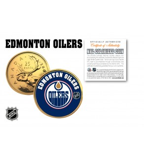 EDMONTON OILERS NHL Hockey 24K Gold Plated Canadian Quarter Colorized Coin - Officially Licensed