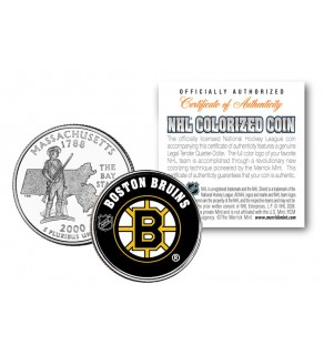 BOSTON BRUINS NHL Hockey Massachusetts Statehood Quarter U.S. Colorized Coin - Officially Licensed