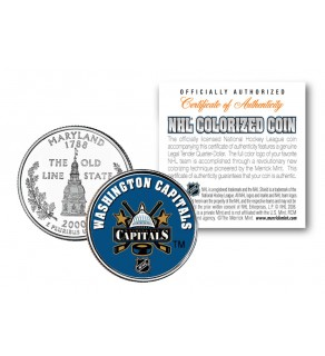 WASHINGTON CAPITALS NHL Hockey Maryland  Statehood Quarter U.S. Colorized Coin - Officially Licensed