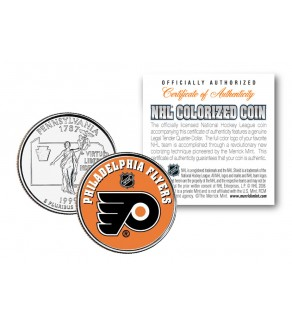 PHILADELPHIA FLYERS NHL Hockey Pennsylvania Statehood Quarter U.S. Colorized Coin - Officially Licensed