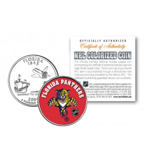 FLORIDA PANTHERS NHL Hockey Florida Statehood Quarter U.S. Colorized Coin - Officially Licensed