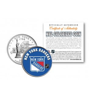 NEW YORK RANGERS NHL Hockey New York Statehood Quarter U.S. Colorized Coin - Officially Licensed