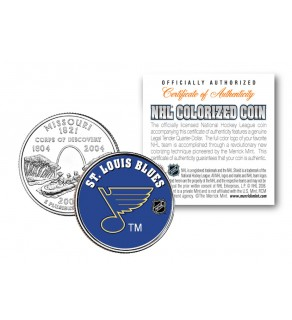 ST. LOUIS BLUES NHL Hockey Missouri Statehood Quarter U.S. Colorized Coin - Officially Licensed