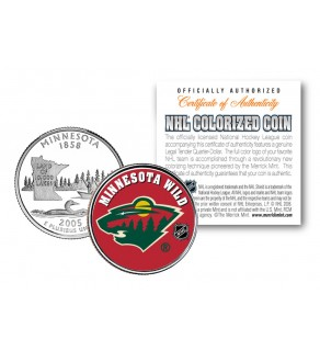 MINNESOTA WILD NHL Hockey Minnesota Statehood Quarter U.S. Colorized Coin - Officially Licensed