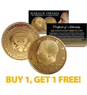 BARACK OBAMA 2009 Tribute Coin 24K Gold Plated - BUY 1 AND GET 1 FREE - bogo