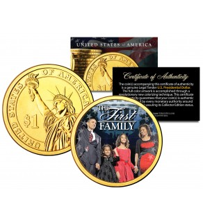 BARACK OBAMA - First Family - Presidential $1 Dollar U.S. Coin 24K Gold Plated