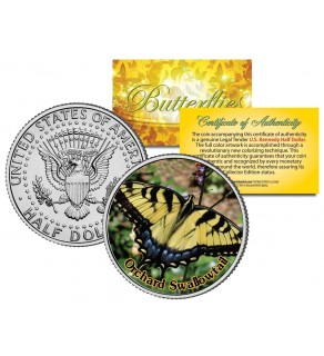ORCHARD SWALLOWTAIL BUTTERFLY JFK Kennedy Half Dollar U.S. Colorized Coin
