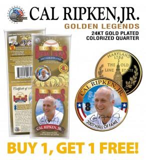 CAL RIPKEN JR Golden Legends 24K Gold Plated State Quarter US Coin - BUY 1 GET 1 FREE - bogo