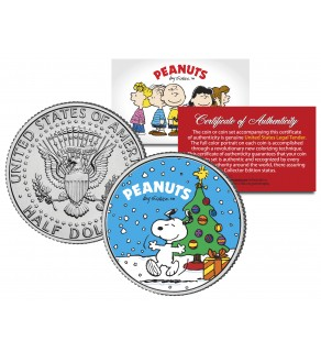 "Peanuts "" Snoopy with Christmas Tree "" JFK Kennedy Half Dollar U.S. Coin - Officially Licensed"
