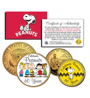 PEANUTS Charlie Brown SNOOPY - 60 Years - DC Quarter & JFK Half Dollar 2-Coin Set 24K Gold Plated - Officially Licensed