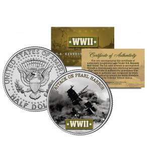 World War II - ATTACK ON PEARL HARBOR - JFK Kennedy Half Dollar US Coin