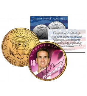 Breast Cancer Awareness PEYTON MANNING NFL JFK Kennedy Half Dollar US 24K Gold Plated US Coin