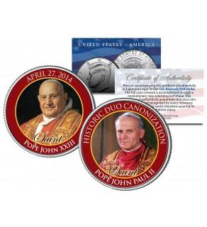 SAINTS - Pope John XXIII & Pope John Paul II - DOUBLE CANONIZATION - 2014 JFK Kennedy US Colorized Coin