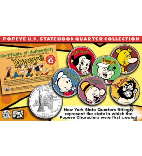 POPEYE & FRIENDS US Statehood Quarter Colorized 6-Coin Set - Officially Licensed