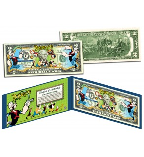 POPEYE & FRIENDS Genuine Legal Tender US $2 Bill - Officially Licensed
