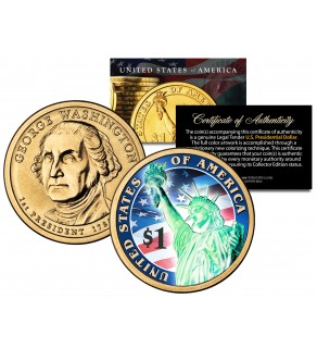 COLORIZED 2007 Washington Presidential $1 Dollar U.S. Coin with HOLOGRAM Liberty