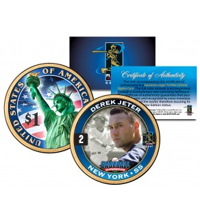 DEREK JETER 2-Sided Colorized 2007 Washington Presidential $1 Dollar U.S. Coin - Officially Licensed