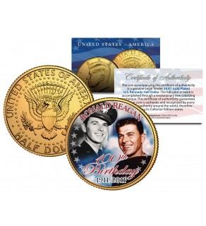RONALD REAGAN - 100th Birthday - 1911-2011 JFK Kennedy Half Dollar 24K Gold Plated US Coin