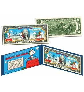 PEANUTS - SNOOPY vs. RED BARON - Legal Tender US $2 Bill - LICENSED - Charlie Brown