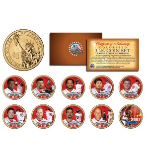 2007 BOSTON RED SOX CHAMPIONS Presidential $1 Dollar U.S. Colorized 10-Coin Set - Officially Licensed