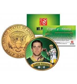 AARON RODGERS JFK Kennedy Half Dollar 24K Gold Plated US Coin GREEN BAY PACKERS - Officially Licensed