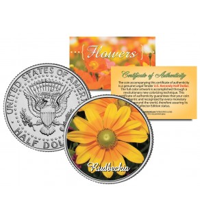 RUDBECKIA FLOWER JFK Kennedy Half Dollar U.S. Colorized Coin