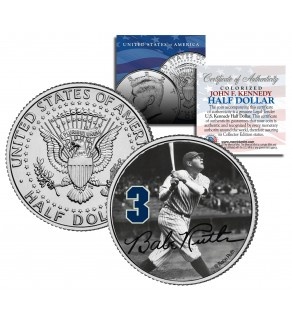 """Babe Ruth """" Hitting """" JFK Kennedy Half Dollar US Colorized Coin - Officially Licensed"""