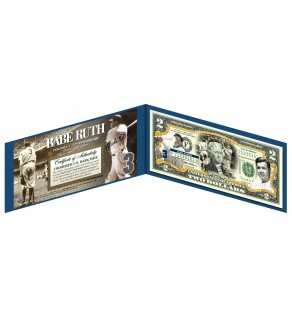 BABE RUTH - New York Yankees - Legal Tender U.S. $2 Bill - Officially Licensed