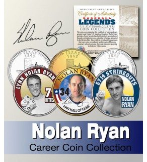 Baseball Legend NOLAN RYAN Texas Statehood Quarters US Colorized 3-Coin Set - Officially Licensed