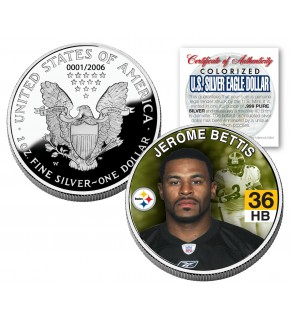 JEROME BETTIS 2006 American Silver Eagle Dollar 1 oz US Colorized Coin STEELERS - Officially Licensed